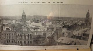 Adelaide, Queen City of the South. A new view showing the south eastern section of Adelaide, South Australia. Printed Panorama.