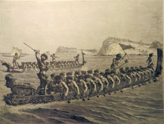 A New Zealand War Canoe Race. Auckland