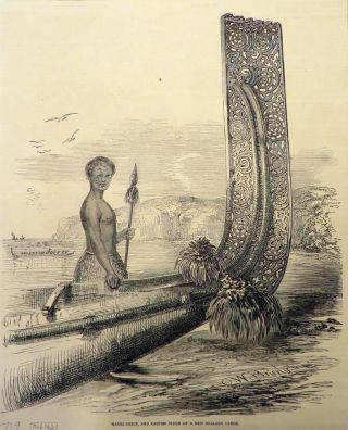 Maori Chief, and Carved Stem of a New Zealand Canoe. Auckland