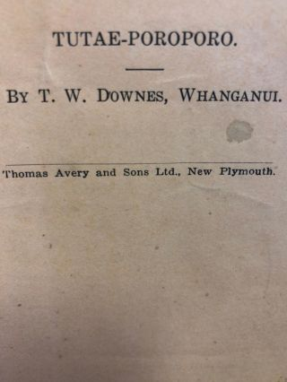 Tutae-Poroporo. Journal of the Polynesian Society. T. W. DOWNES