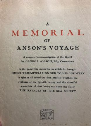 A Memorial of Anson's Voyage. A Complete Circumnavigation of the Worth by George Anson, Esq;...