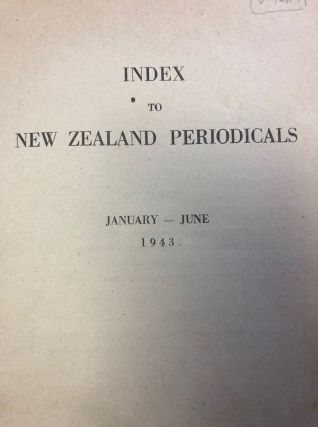 Index to New Zealand Periodicals