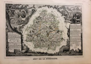 France. Dept. de la Dordogne. Atlas National Illustre. Levasseur