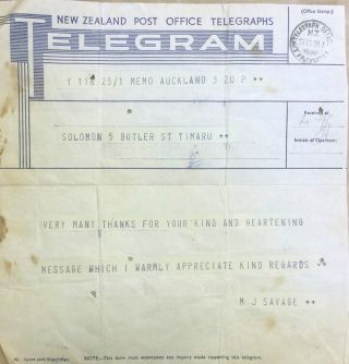 Telegram from M J Savage. Michael Joseph SAVAGE