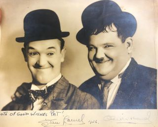 Signed photograph. Laurel, Hardy