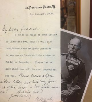 Signed letter. Field Marshall VC Roberts