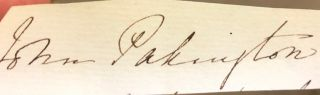 Signature. Lord John Pakington