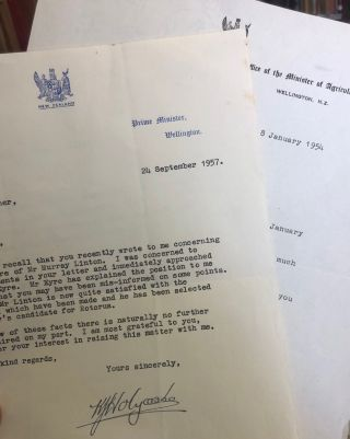 Signed letters. Sir Keith Holyoake