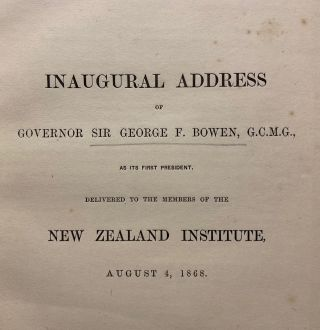 Inaugural Address of Governor Sir George Bowen G.C.M.G